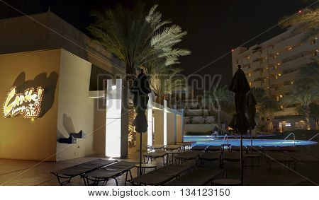LAS VEGAS, NEVADA, MAY 23. The Cancun Resort on May 23, 2016, in Las Vegas, Nevada. The Caribe Lounge Mayan waterscape and dramatic lighting effects at the Cancun Resort in Las Vegas Nevada.