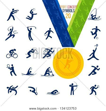 Twenty Sports icons set. Symbol sport concept recreation.Vector illustration isolate on white. Gold medal with the symbol in the middle, easily changed to any character set.