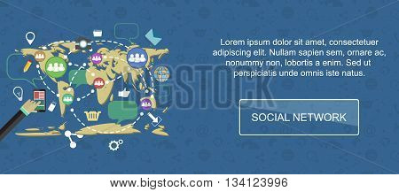 Social network. Web banner slider or vector flat background.