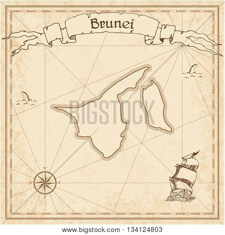 Brunei Darussalam Old Treasure Map. Sepia Engraved Template Of Pirate Map. Stylized Pirate Map On Vi
