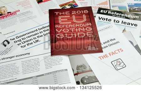 BASINGSTOKE UK - JUNE 13 2016: Leaflets posted through doors in Basingstoke about the forthcoming Referendum on whether the UK should remain in or leave the European Union.