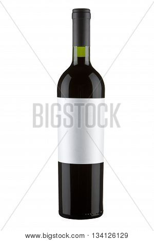 red wine bottle isolated on a white with clipping path