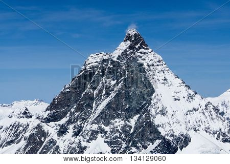 Peak of Matterhorn is a Landmark in Zermatt Switzerland View of the snowy mountains landscape