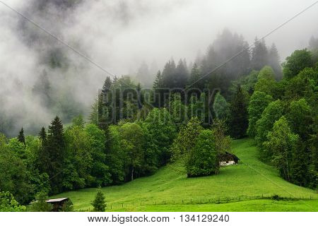 Small village and mist on the mountain is the nature view from Swiss Mountain landscape in Switzerland