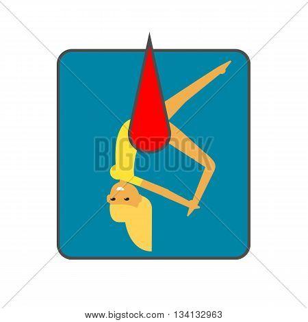 Female circus acrobat vector icon. Colored line icon of female circus acrobat hanging on hammock