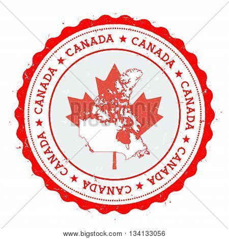 Canada Map And Flag In Vintage Rubber Stamp Of State Colours. Grungy Travel Stamp With Map And Flag