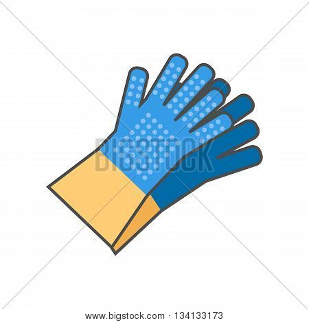 Household gloves vector icon. Colored line icon of pair of household gloves with gripper dots on fingers and palm