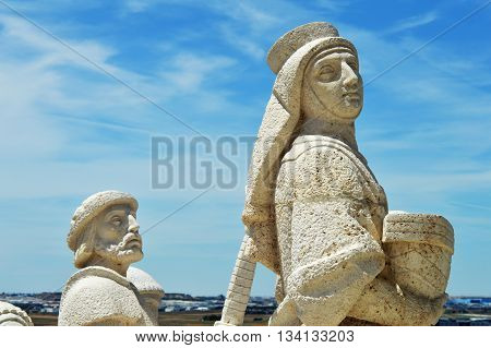 Amazing two stone people in the sunny day