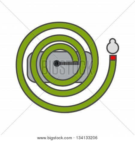 Irrigation hose vector icon. Colored line icon of long irrigation hose