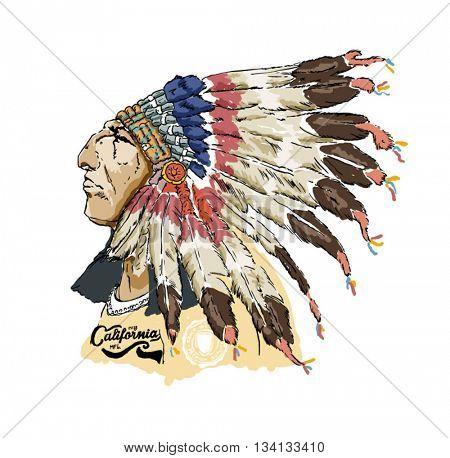 varsity native american racer illustration 2