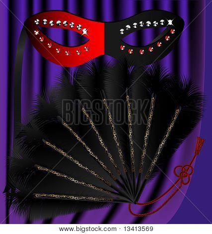 black fan and half mask