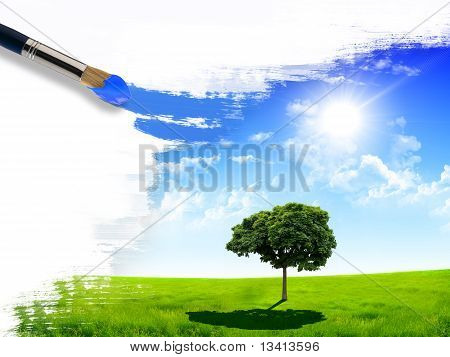 summer nature picture with a brush