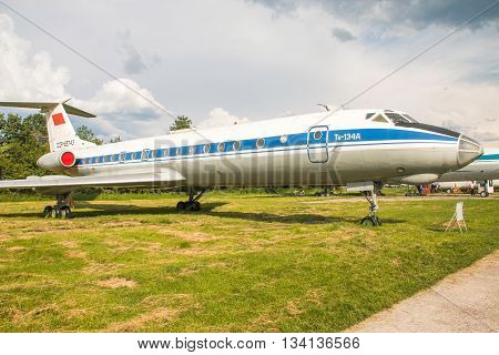 Kiev, Ukraine, May 26th, 2016: Tupolev Tu-134, Soviet era regional jet airliner on exhibition at Zhuliany State Aviation Museum in Kyiv, Ukraine