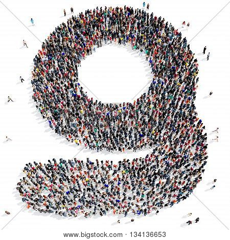 Large and creative group of people gathered together in the shape of a letter g of the alphabet. 3d illustration, isolated, white background.