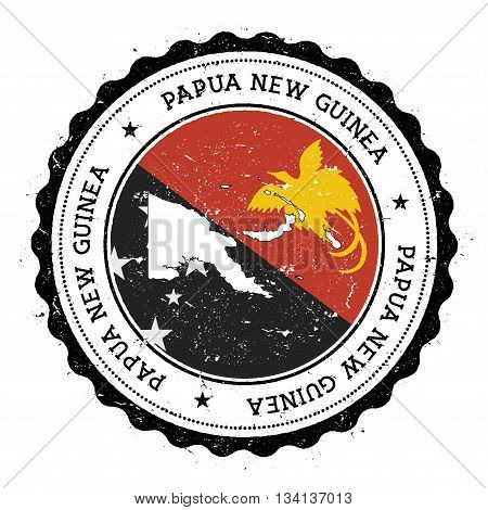 Papua New Guinea Map And Flag In Vintage Rubber Stamp Of State Colours. Grungy Travel Stamp With Map