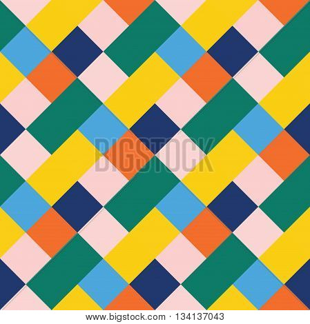 Seamless geometric pattern. Madras check pattern with blue green yellow. Digital print for wallpaper wrapping paper fabric textile scrap booking apparel web design.Vector seamless background.