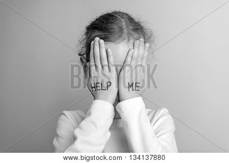 Child Need Help. Little Girl Crying. Black And White.