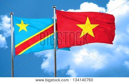 Democratic republic of the congo flag with Vietnam flag, 3D rend