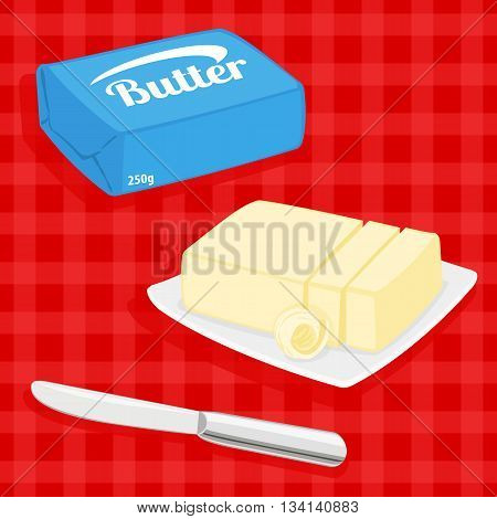 Vector colorful illustration of bar butter on plate