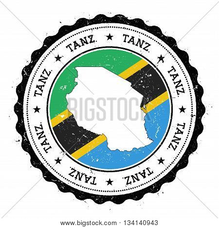Tanzania, United Republic Of Map And Flag In Vintage Rubber Stamp Of State Colours. Grungy Travel St