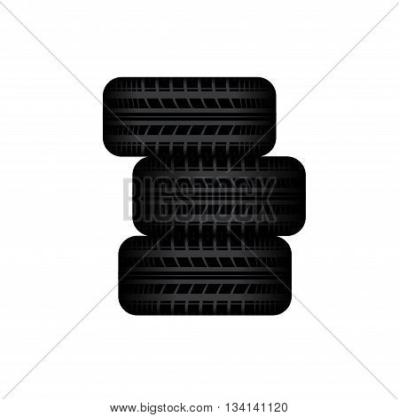 Three tire tracks in stock islated on white background
