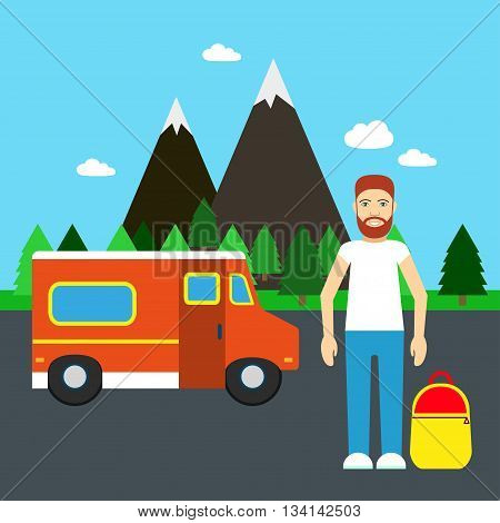 Hitchhiking. Vector illustration Hitchhiking traveler on the road. Hitchhiking summer travel. Flat design