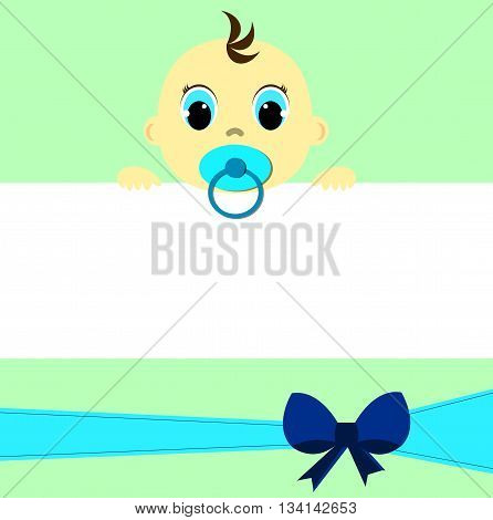 Baby boy with place for your text, greeting card