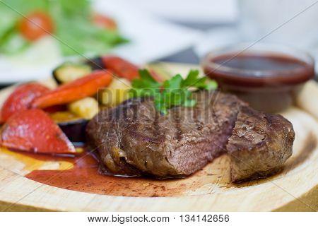 Beef Steak - Gourmet Restaurant Food background. Shallow depth of field