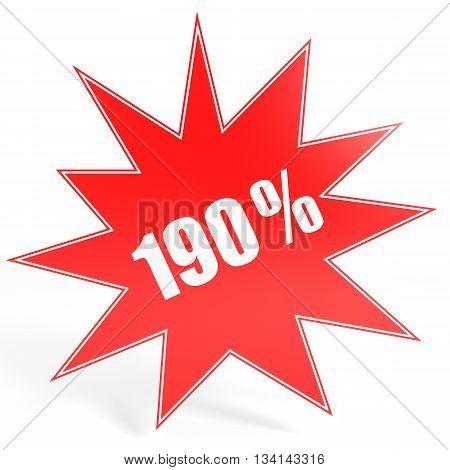 Discount 190 Percent Off. 3D Illustration.