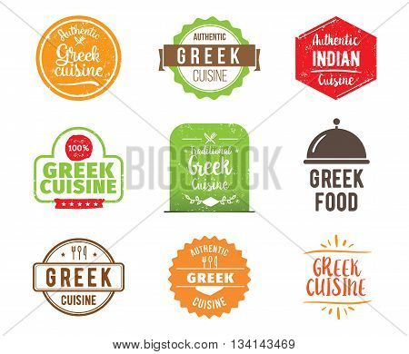 Greek cuisine, authentic traditional food typographic design set. Vector logo, label, tag or badge for restaurant and menu. Isolated.