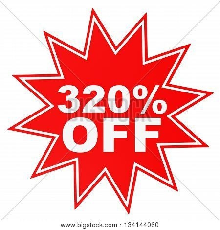 Discount 320 Percent Off. 3D Illustration.