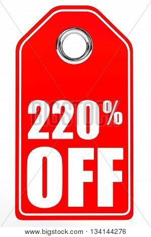 Discount 220 Percent Off. 3D Illustration.