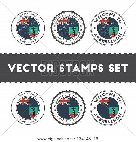 Montserratian Flag Rubber Stamps Set. National Flags Grunge Stamps. Country Round Badges Collection.