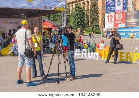 DNEPR UKRAINE - MAY 21 2016:Interview on a central square of the city during