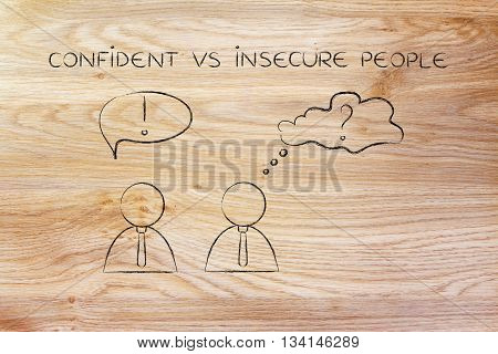 Men With Contrasting Reactions, Confident Vs Insecure Businessmen