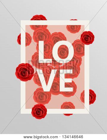 Red roses floral design elements. Vector illustration. Rose border. Vector rose. Rose decoration. Love rose. Love border. Background with roses. Love concept.