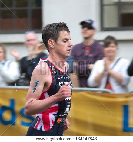 LEEDS, UK - JUNE 12: Triathlete Jonathon Brownlee on the running leg of the the World Triathlon Series stage 5 as he comes 2nd in the mens elite race, June 12, 2016 in Leeds, UK