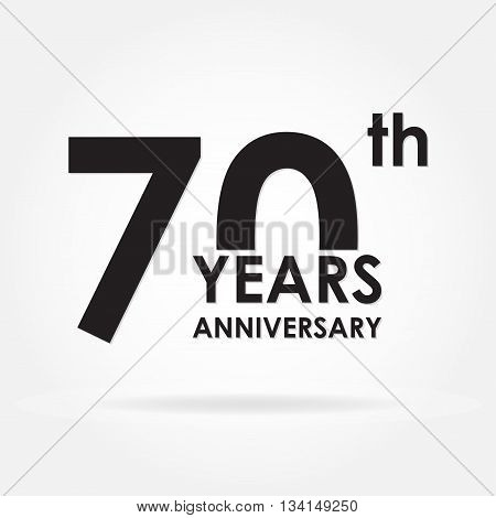 70 years anniversary emblem. Anniversary icon or label. 70 years celebration and congratulation design element. Vector illustration.