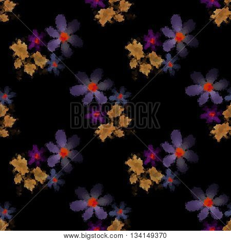 Seamless floral mosaic pattern flowers print on black background