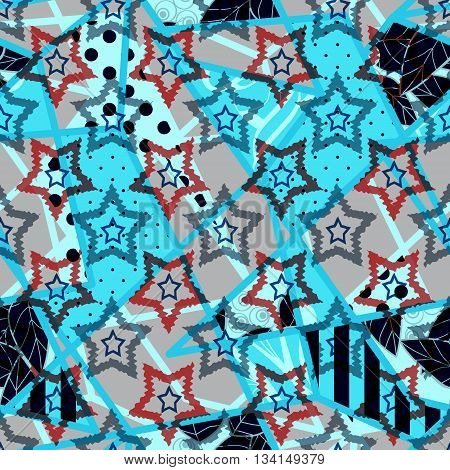 Patchwork seamless pattern ornament dotted starry design stars background