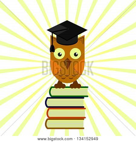 owl in the academic cap sitting on a pile of books, grading on a yellow background with divergent rays