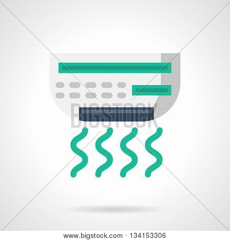 Air conditioner for office. Cooling equipment and appliances. Freshness and temperature regulation in warmth season. Climatic technics. Flat color style vector icon.