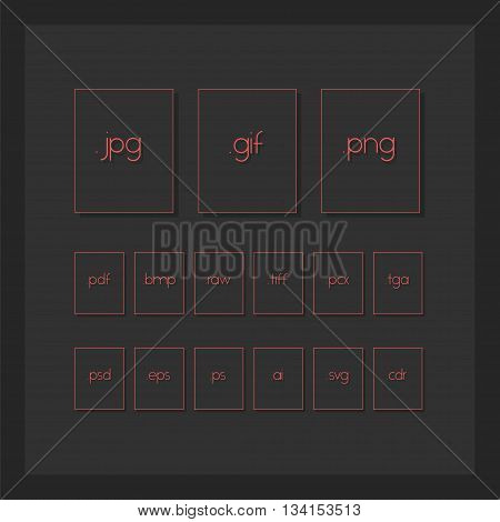 Dark Minimal File Type Icons. Image Format File
