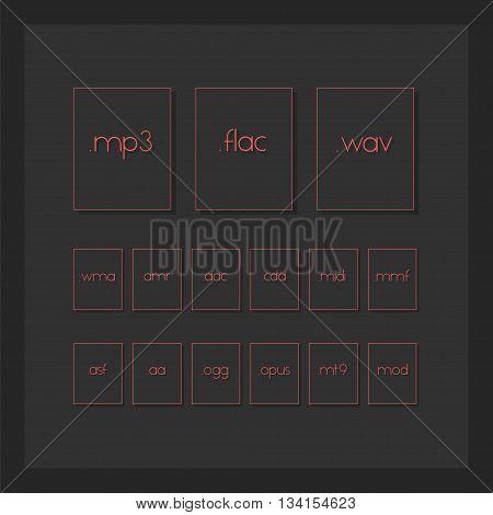 Dark Minimal File Type Icons. Audio Format File