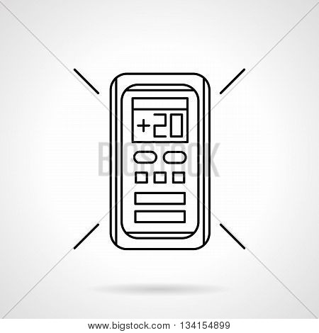 Remote controller for air conditioner with temperature 20 on display. Modern technology for home climate regulation. Flat line style vector icon.