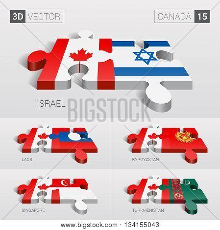 Canada and Israel, Laos, Kyrgyzstan, Singapore, Turkmenistan Flag. 3d vector puzzle. Set 15.