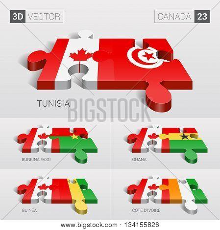 Canada and Tunisia, Burkina Faso, Ghana, Guinea, Cote d'Ivoire Flag. 3d vector puzzle. Set 23.