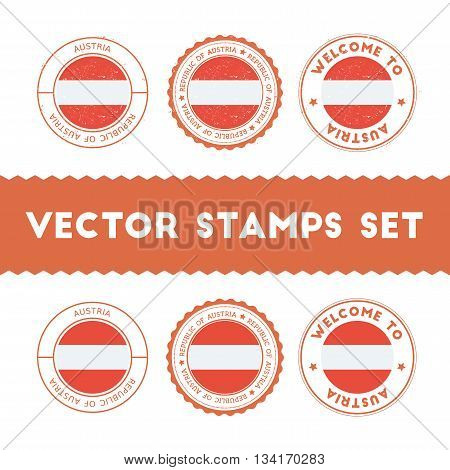 Austrian Flag Rubber Stamps Set. National Flags Grunge Stamps. Country Round Badges Collection.