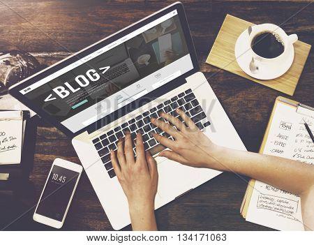 Blog Blogging Homepage Social Media Network Concept poster