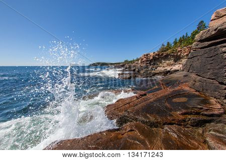 Waves crashing along the coast of Acadia National Park in Maine